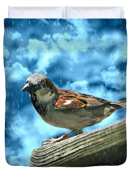 A Chance Of Showers Duvet Cover by Barbara S Nickerson