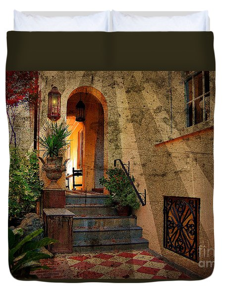 Duvet Cover featuring the photograph A Charleston Garden by Kathy Baccari