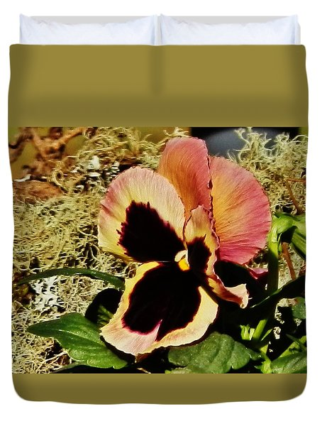 Duvet Cover featuring the photograph A Charming Pansy by VLee Watson