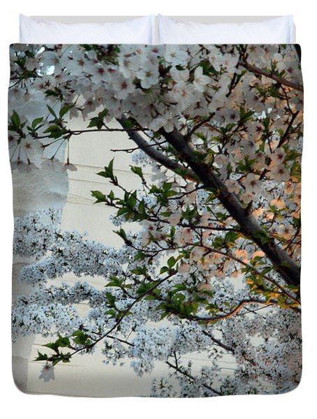 Duvet Cover featuring the photograph A Cherry Blossomed Martin Luther King by Cora Wandel