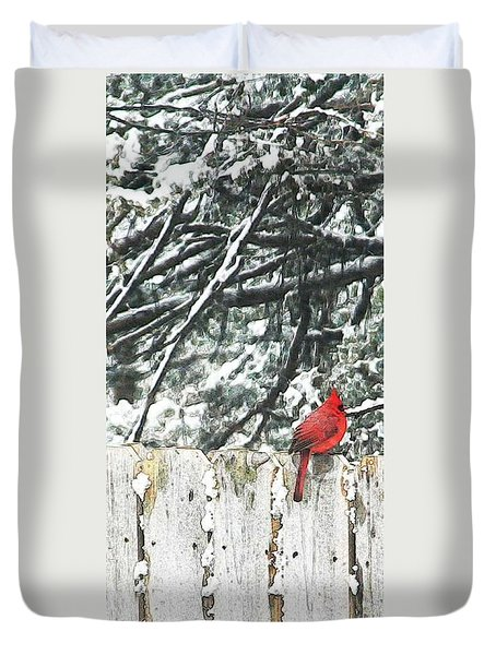 A Christmas Cardinal Duvet Cover