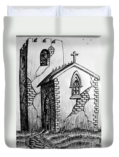 Duvet Cover featuring the painting Old Church by Salman Ravish