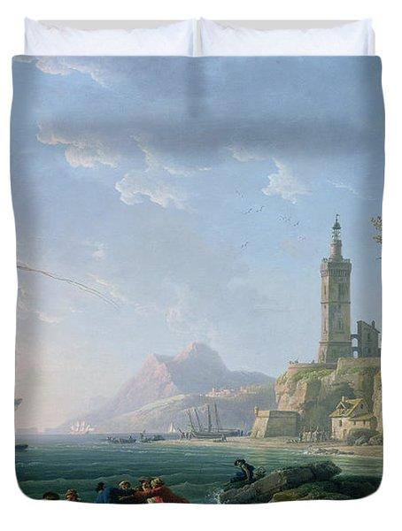A Coastal Mediterranean Landscape Duvet Cover