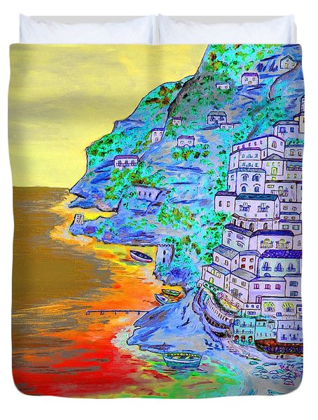 A Coastal View Of Positano Duvet Cover by Loredana Messina
