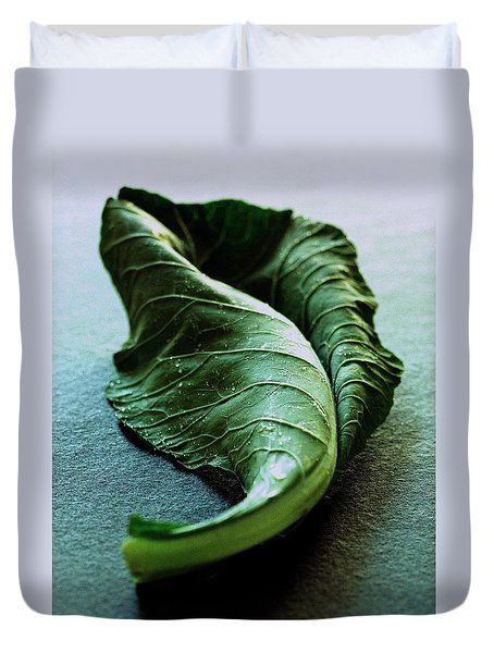 A Collard Leaf Duvet Cover by Romulo Yanes