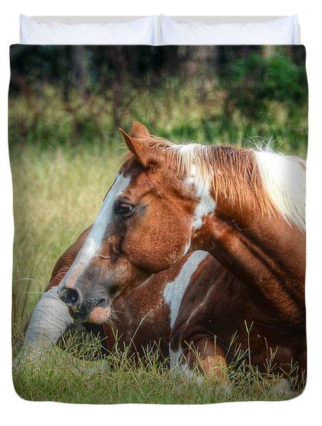 Duvet Cover featuring the photograph A Comfy Resting Place by Kathy Baccari