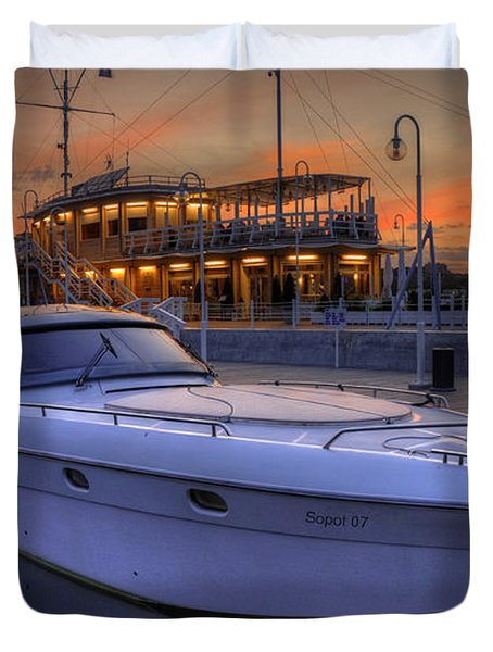 A Cool Motorboat Yacht In Sopot Marina Duvet Cover