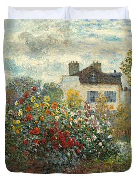 A Corner Of The Garden With Dahlias Duvet Cover