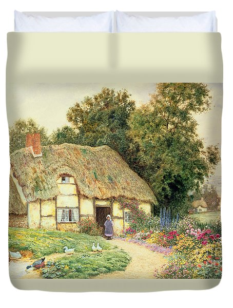 A Cottage By A Duck Pond Duvet Cover