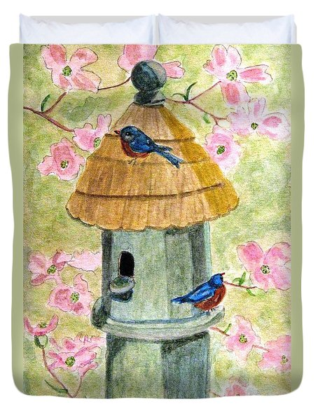A Cottage For Two Duvet Cover by Angela Davies