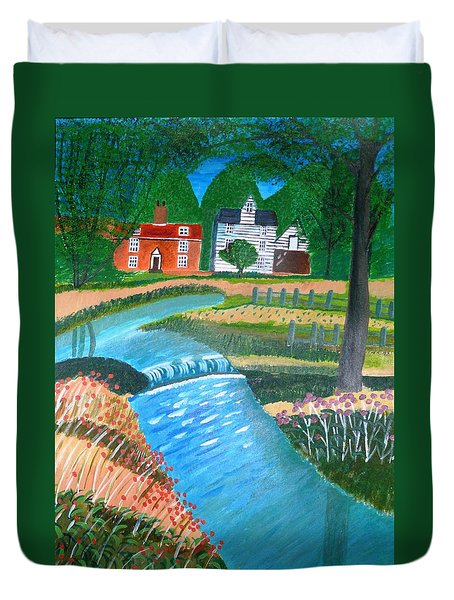 Duvet Cover featuring the painting A Country Stream by Magdalena Frohnsdorff