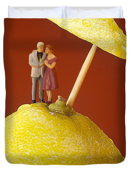 Duvet Cover featuring the painting A Couple In Lemon Rain Little People On Food by Paul Ge