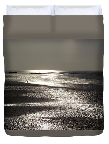 A Couple On A Deserted Beach Duvet Cover