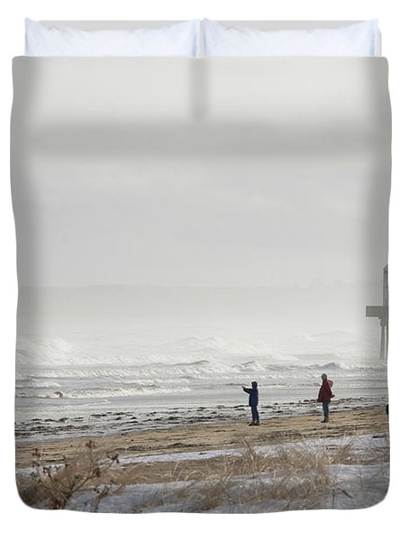 A Couple Walks Their Dog And Takes Duvet Cover