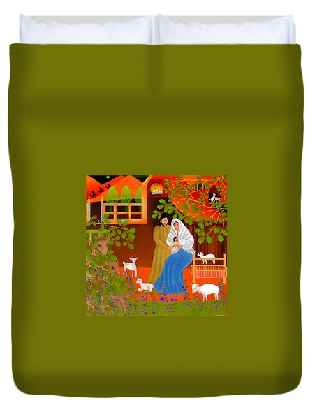 A Cradle In Bethlehem Duvet Cover by Latha Gokuldas Panicker