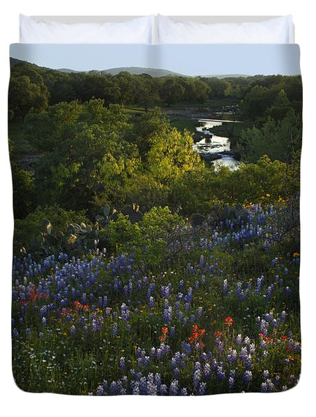 A Creek In Llano County  Duvet Cover