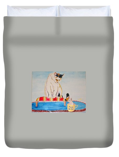 Duvet Cover featuring the painting A Cup Of Chihuahua by Phyllis Kaltenbach