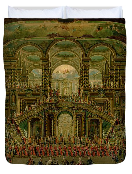 A Dance In A Baroque Rococo Palace Oil On Canvas Duvet Cover