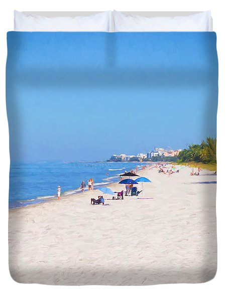 A Day At Naples Beach Duvet Cover