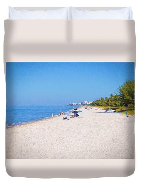 A Day At Naples Beach Duvet Cover