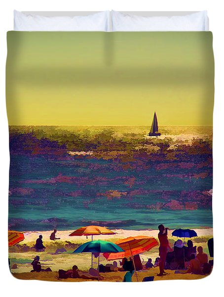 A Day At The Beach Duvet Cover by Billie-Jo Miller