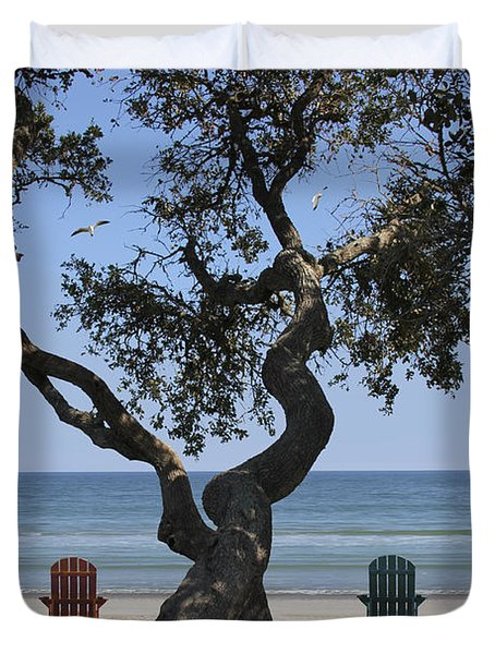 A Day At The Beach Duvet Cover by Mike McGlothlen