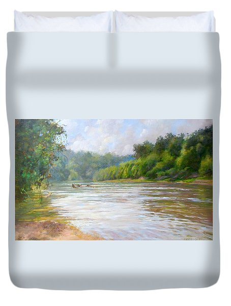 A Day At The River  Duvet Cover by Nancy Stutes