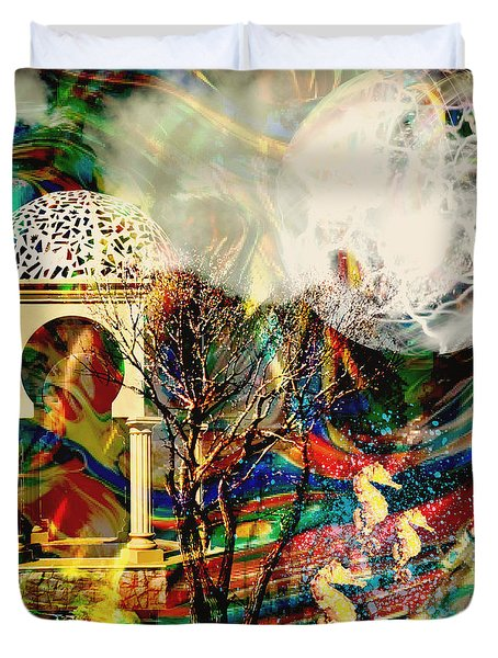 Duvet Cover featuring the mixed media A Day In The Park by Ally  White
