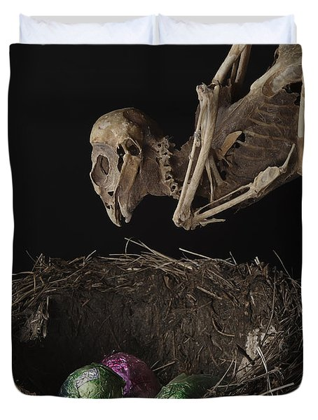 A Dead Bird Flies Into Its Nest Only To Find Chocolate Eggs Duvet Cover