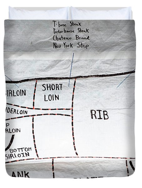 A Diagram Of Cuts Of Beef On White Duvet Cover