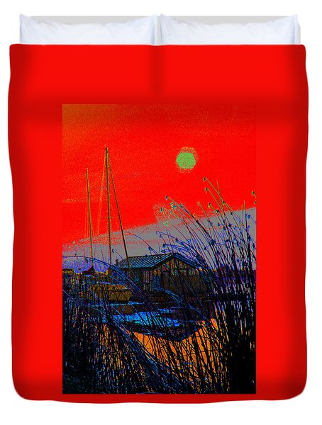 A Digital Marina Sunset Duvet Cover