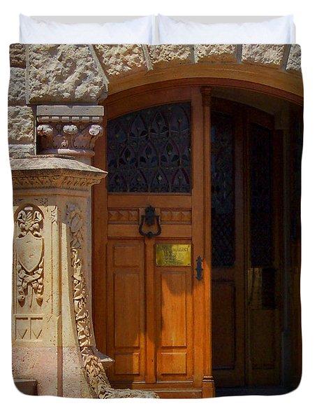 A Door In Monaco Duvet Cover by Christine Burdine
