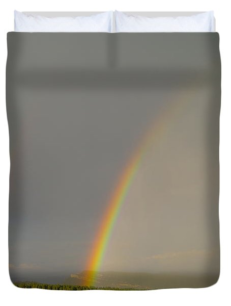 A Double Rainbow Near Durango Duvet Cover by Jeff Swan