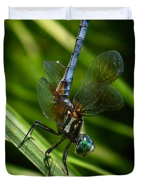 Duvet Cover featuring the photograph A Dragonfly by Raymond Salani III