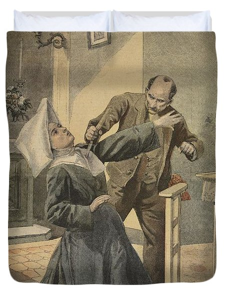 A Drama In An Asylum Assassination Duvet Cover by French School