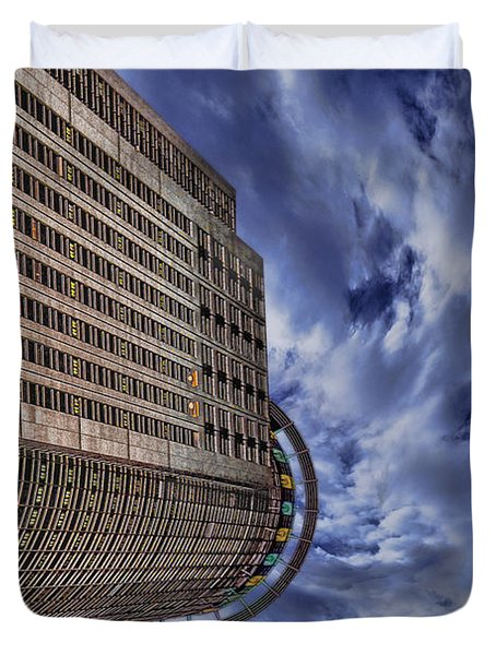 Duvet Cover featuring the photograph A Drifting Skyscraper by Ron Shoshani