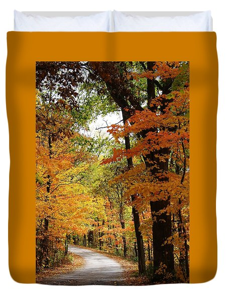 Duvet Cover featuring the photograph A Drive Through The Woods by Bruce Bley