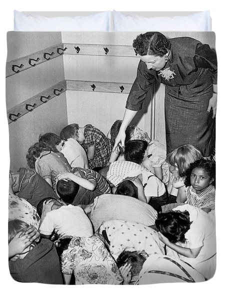 A Duck And Cover Exercise In A Kindergarten Class In 1954 Duvet Cover