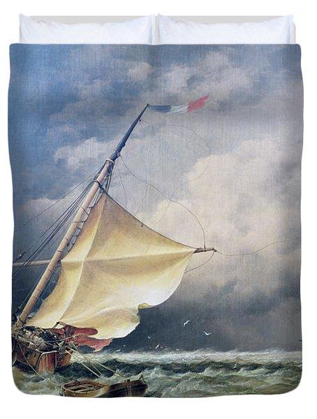 A Dutch Beurtman Aground Duvet Cover by Edward William Cooke