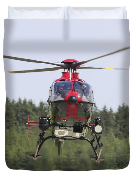 A Eurocopter Ec135 Used By German Duvet Cover by Timm Ziegenthaler