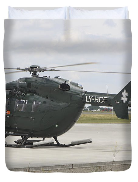 A Eurocopter Ec145 Helicopter Duvet Cover by Timm Ziegenthaler