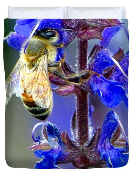 A European Honey Bee And It's Flowers Duvet Cover