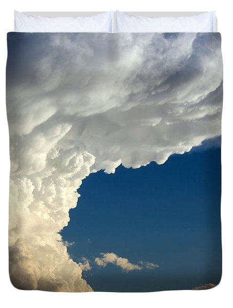 Duvet Cover featuring the photograph A Face In The Clouds by Barbara Chichester