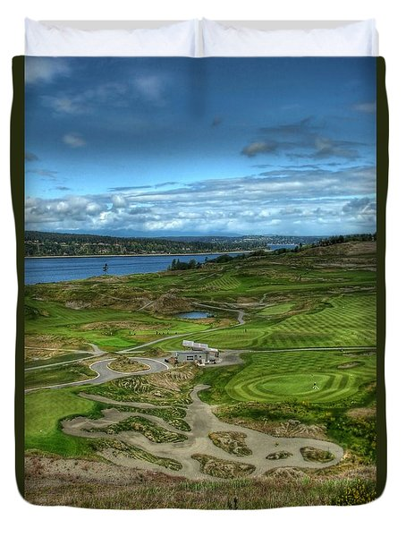 Duvet Cover featuring the photograph A Fairway To Heaven - Chambers Bay Golf Course by Chris Anderson