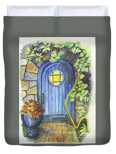 Duvet Cover featuring the painting A Fairys Door by Carol Wisniewski