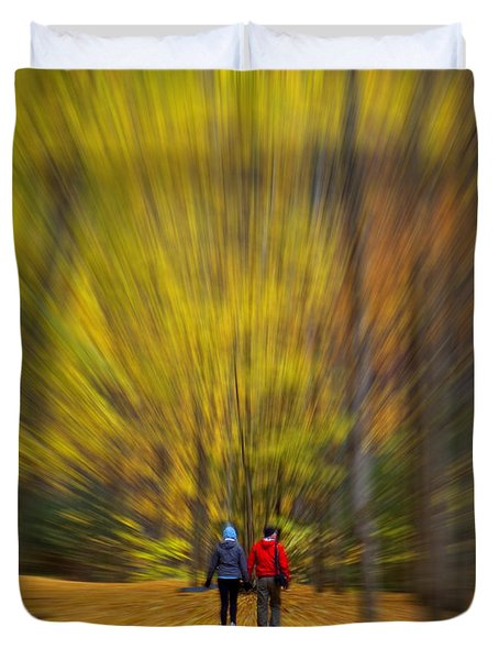Duvet Cover featuring the photograph A Fall Stroll Taughannock by Jerry Fornarotto