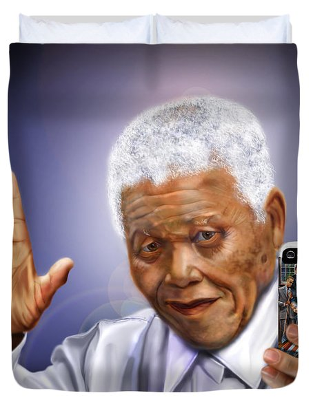 A Farewell Selfie To The World - Nelson Mandela  Duvet Cover