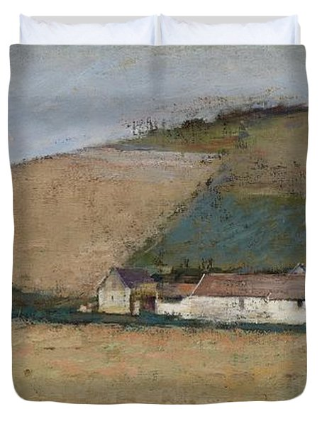 A Farm Among Hills Duvet Cover