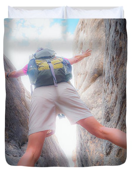 A Female Hiker As She Stands Duvet Cover