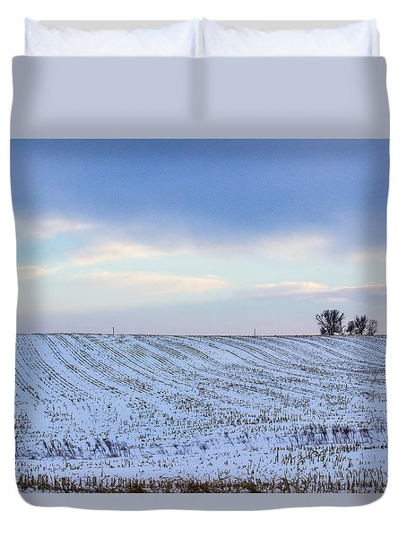 A Field In Iowa At Sunset Duvet Cover